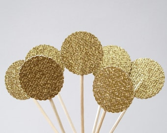 24 Glittered Gold Lollipop Party Picks, Cupcake Toppers, Food Picks, Sandwich Picks, Toothpicks - No501