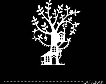 Cut scrapbooking scrap tree house animal OWL leaf cut paper embellishment die cut creation