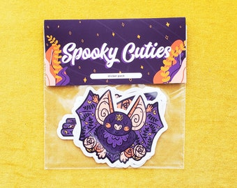 Spooky Sticker Pack | sticker pack, bat sticker,cat sticker, raven sticker, bird sticker, black cat sticker, spooky, halloween