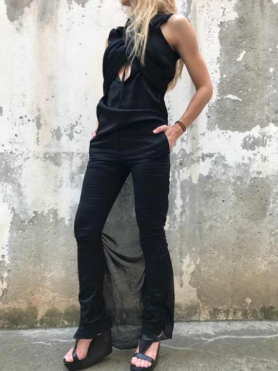Paradox Fitted New Sexy Women Top Summer Top Pants PS0465 Black Tank Piece Two Sleeveless Pants Set Pants 1qBrntR8xq