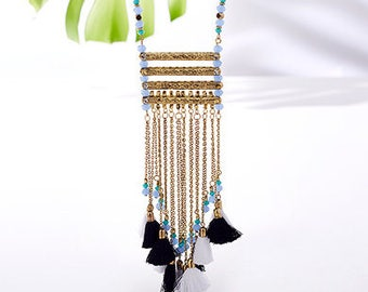 Long TASSEL Necklace,Layering Tassel Necklace,Statement Jewelry-Bohemian trending necklace-Cleopatra collection from Taneesi AN345
