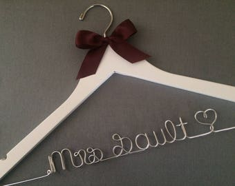 Wedding Dress Hanger with Satin Ribbon, Many Wire Colours, Mrs Hanger, Last name Hanger, High Quality, Made in Canada