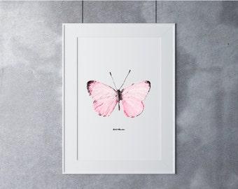Butterfly Art, Digital Art Print, Digital Art Download, Digital Graphics, Printable Art, Digital Print, Nature Art Print, Black Pink