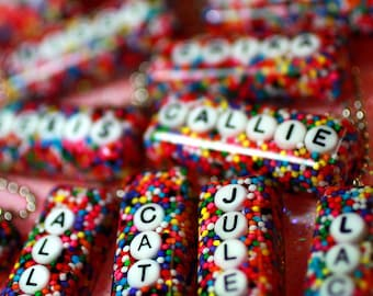 Name Necklace, The Original Personalized With Your Name Rainbow Sprinkles Necklace - Resin rainbow candy name pendant, unique gift for girl