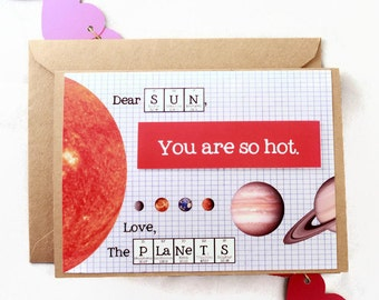 Chemistry Science Valentines Day Card - Love Science Sun and Planets You are so hot Card