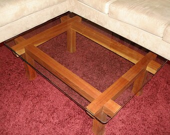 Wood and Glass Coffee Table / Rectangle Coffee Table / Glass Top Coffee Table / Coffee Table Glass