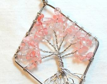 Tree Of Life - Silver and Rose Quartz Pendant (Large)