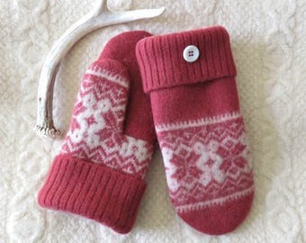Felted Wool Mittens in Dark Coral and Cream, Nordic Sweater Wool Mittens, Eco-Friendly Lined Adult Mittens