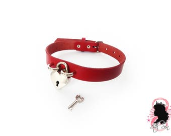 Red Leather Heart Lock Choker with Key, Red Heart Lock Choker, Lock and Key Choker, Red Heart Padlock Choker, Red Padlock & Key Choker