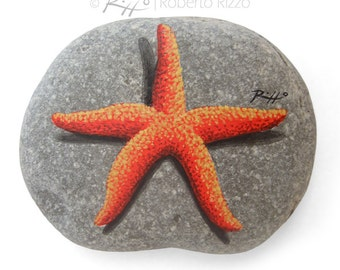 Original Hand Painted Red Starfish 'Resting' on A Rock!