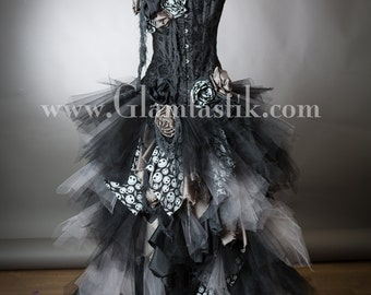 Jack Skellington Custom Size Black and gray High Low tulle Burlesque Corset Nightmare before Christmas Dress Small-XL