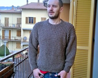 Chunky knit sweater, Basic sweater, Custom made knitted men sweater, wool jumper for him, sporty sweater, tweed brown sweater, gift for him