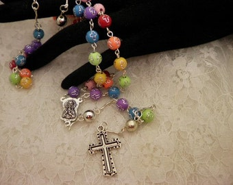 Colorful Cross Beaded Rosary Beads