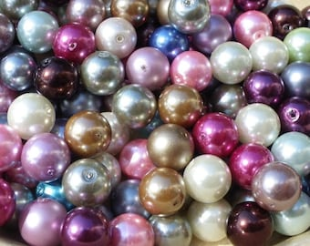 25 beads 12 mm mixed colours Pearl