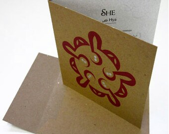 SHE Luxury Card Letterpress with Silver Accents, Contemporary Arabic Calligraphy
