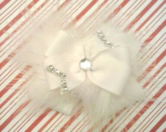 Elegant Hair Bow , White Hair Bow , Rhinestone Hair Bow , Marabou Hair Bow , Pageant Hair Bow , Wedding Hair Bow