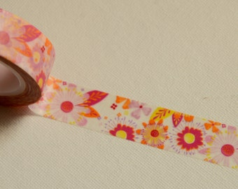 1 Roll of Japanese Washi Tape Roll- Beautiful Spring Flower