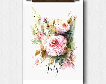 Watercolor Floral, JULY Month, Calendar art, Pregnancy Announcement, Baby showerBridal Shower, Perpetual Month Calendar, Wedding keepsake