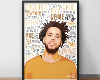 J Cole quote print / poster hand drawn type / typography