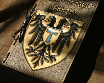 Leather journal, leather diary, medieval grimoire, hardcover book, blazon, heraldry, eagle, french village, St Anthony