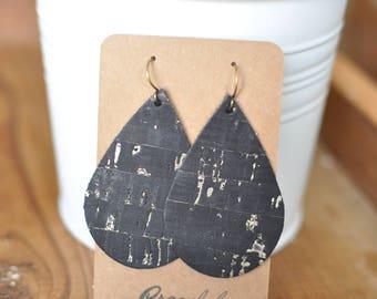 Black Cork Leather Earrings with Gold Specks, Teardrop, Handmade