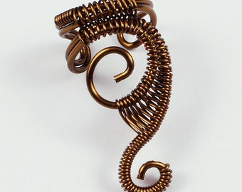 Vintage Brass Woven Swirly Ear Cuff