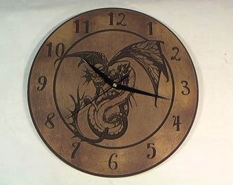 Engraved v-carved DRAGON wall clock gothic