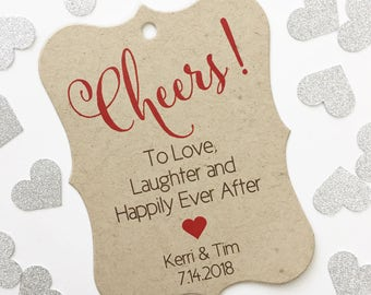 Cheers! To Love, Laughter and Happily Ever After Favor Tags, Kraft Customized Wedding Tags, Wedding Favor Tags  (EC-395-KR)