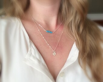 Set of 2 Layered necklaces, turquoise necklace, December birthday gift, personalized birthstone necklace, sterling silver initial necklace