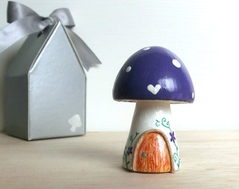Teeny Tiny Wooden Fairy House - Purple White stem Toadstool / Mushroom - Personalized available
