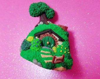 Polymer Clay Lord Of The Rings Inspired Hobbit Hole Bag End Miniature Figure