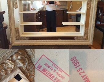 Rare Mirror by Illinois Moulding Co. 1959, Mid Century Modern Display Shelf, Chicago, IL, MCM Mirrored Shadow Box, Hollywood Regency Shelf