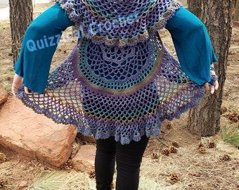 Whimsical Flower Circle Vest Crochet Pattern