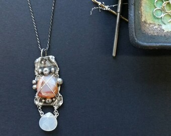 Melted Sterling Silver Wrapped Stone Pendant Necklace