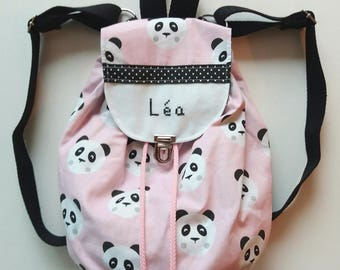 Backpack child pink Panda to customize