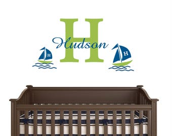 Wall decal for boys Sailor - SAILBOAT  large   Personalized Initial Name Vinyl Wall Decal perfect decoration for nursery