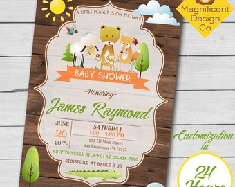 Woodland Baby Shower Invitation, Woodland Animals Invitation, Rustic Baby Shower Invitation, Printable Invitation