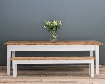 Rustic Dining Table Set with benches - reclaimed - handmade - bespoke sizes