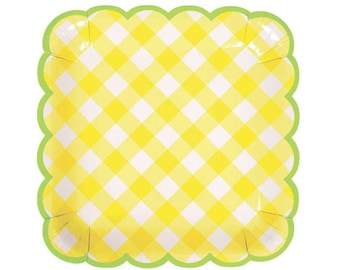 Yellow Gingham Large Plates (12), Meri Meri, Pale Yellow Paper Plates, Spring Party Decor, Easter Party, Yellow & White Checks, Confirmation