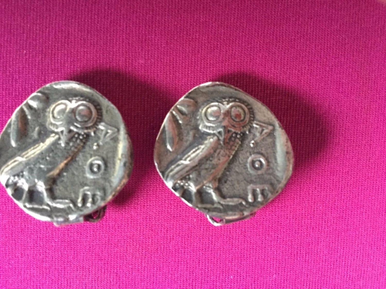 Vintage Owl Clip On Earrings Greek Coin by Alva Studios Double