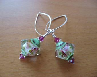 Lampwork Earrings, Modern Earrings, Lampwork Dangle Earrings, Long Earrings, Pink Green Earrings, Contemporary Earrings, Lampwork Drop