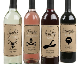 Happy Halloween – Custom Wine Bottle Labels for Halloween Parties - Set of 4 Personalized Sticker Labels