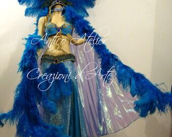 Burlesque, performer costume used, piume blù, pavone, ali di iside, isis wings,  USATO  di repertorio