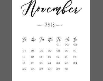 november calendar 2018 print new year print pregnancy announcement 8x10 wall art print