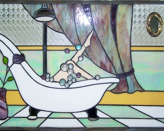 Lady in Bubble Bath..stained glass panel