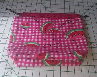 Medium reversible drawstring knitting project bag