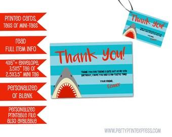 Shark Birthday Party Tags - Shark Thank You Cards - Shark Party Favor Tags - Shark Birthday Thank You Tag Cards - Printable or Printed