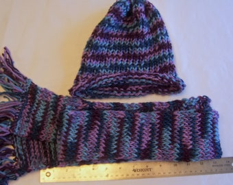 Blue and Purple Adult Hat and Scarf Set