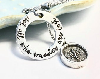 Wanderlust Necklace ~ Free Spirit Jewelry ~ Good Vibes Only ~ Compass Charm ~ Follow Your Arrow ~ Hiker ~ Travel ~ Wander ~ Explore ~ HLJ