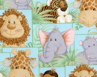 Jungle Babies Patch Nursery Cotton Fabric by the yard
